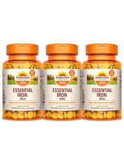 Sundown Naturals Essential Iron 65mg 120 tabs, pack of 3